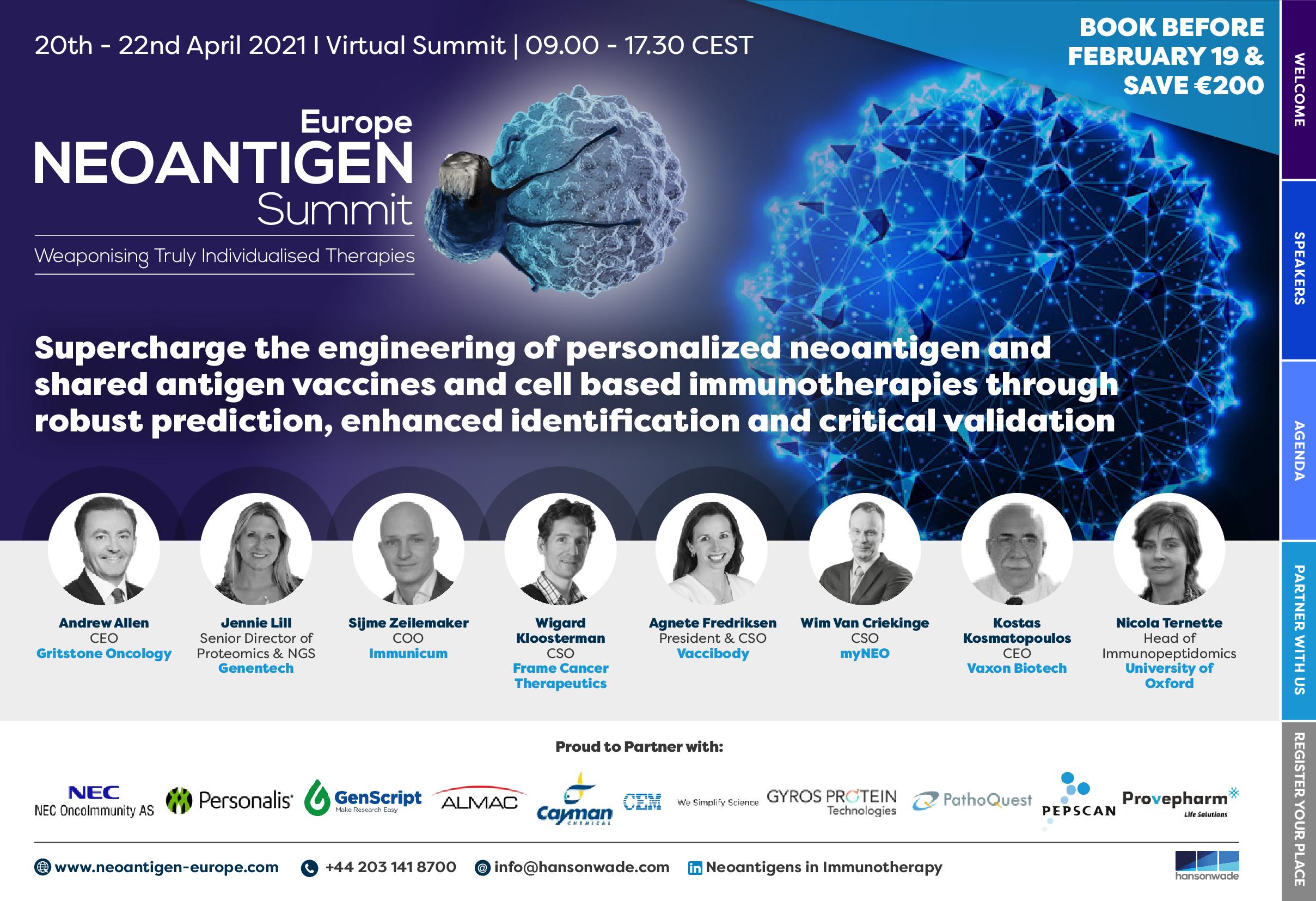 Neoantigen Summit Europe 2021 Full Event Guide